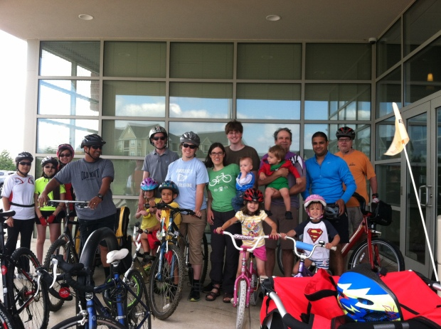 Kidical Mass Rockville launch photo at Thomas Farm Community Center